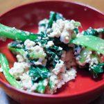 小松菜白和えとブロッコリー豚肉ニンニクミソ炒め
