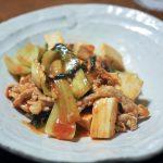 チンゲンサイと豆腐と豚肉のチリソース炒め 20201111