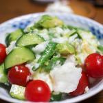 地元の果物 山芋とアボカドサラダ