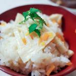 合鴨の豚汁風、即席タケノコごはん、メギス柔らか煮