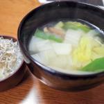 味噌汁とじゃこ大根のシンプル夕飯 20180308
