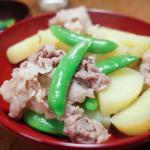 ジャガイモとスナップエンドウと豚肉の煮物(能登風)20180509