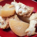 鶏肉と大根の黒酢煮 小松菜のからし和え