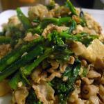 菜の花と豚肉と豆腐の炒め物